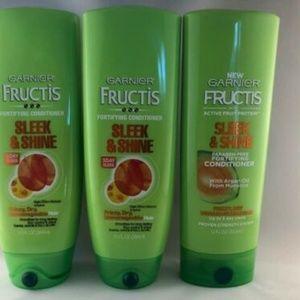 Garnier Fructis Sleek & Shine Conditioner Lot Of 3